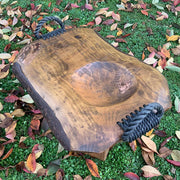 Platter Trough Timber With Rope Brass And Copper Detail