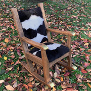 Rocking Chair Single Cowhide Seat And Back With Brass/Copper Detail