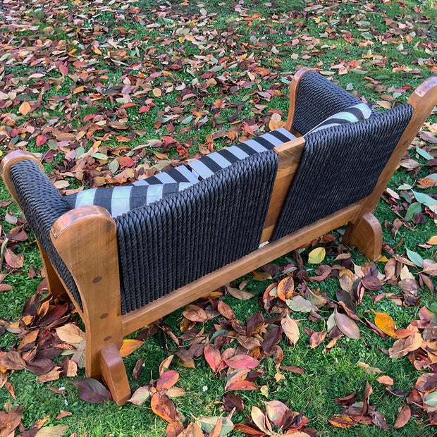 Tub Bench Double UV Upolstered squab and cushion with rope back and copper detail