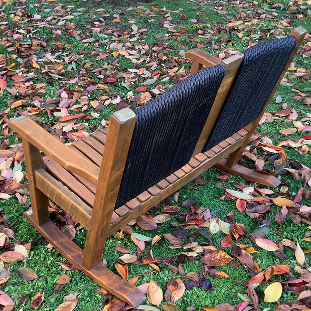 Rocking Chair Double Timber Seat With Rope Back And Brass Detail