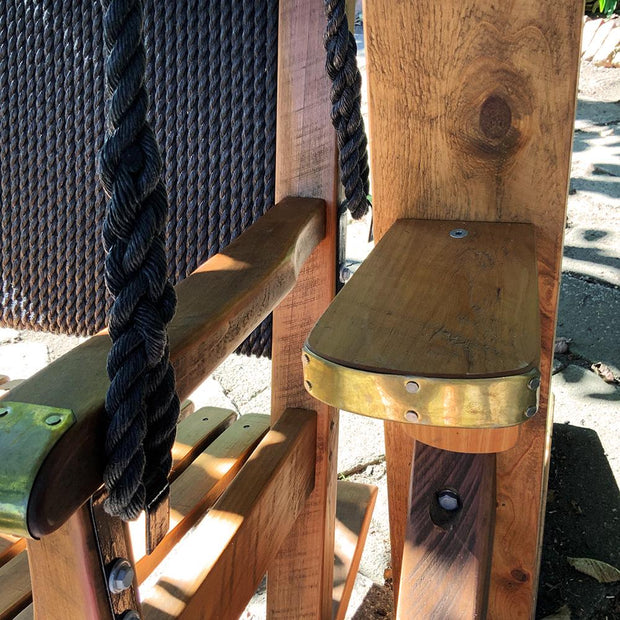 Swing Chair Double Timber Seat With Rope Back And Brass Detail