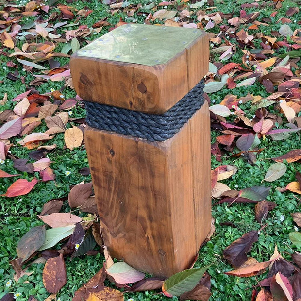 Bollard Single Timber With Rope Brass And Copper Detail