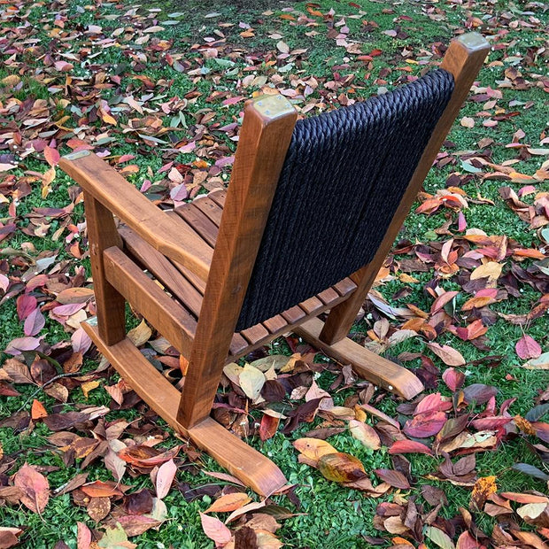 Rocking Chair Single Timber Seat With Rope Back And Brass Detail
