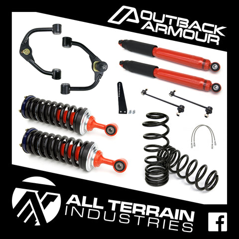 "OUTBACK ARMOUR 4"" FRONT/3"" REAR LIFT KIT - LONG TRAVEL - NISSAN D23/NP300 NAVARA (COIL REAR)"