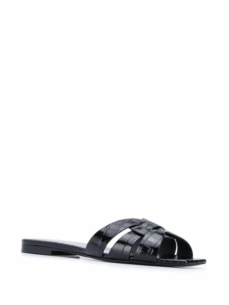 SAINT LAURENT Leathers SAINT LAURENT WOMEN'S BLACK LEATHER SANDALS