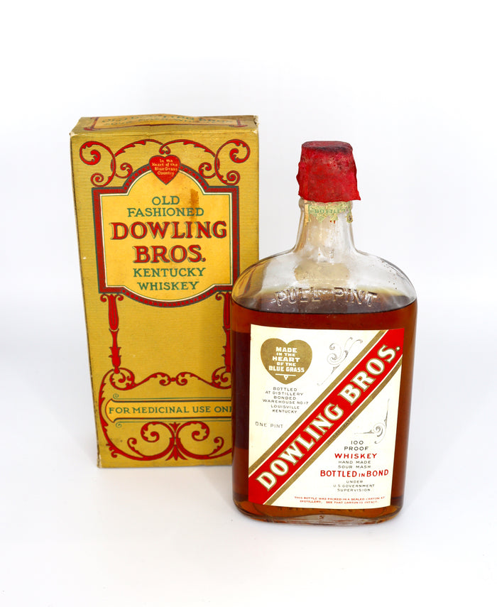 Dowling Bros A Ph. Stitzel Prohibition Pint 1929 Hand Made Sour Mash Whiskey