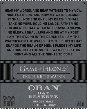 GAME OF THRONES | The Night's Watch Oban Bay Reserve Limited Edition - CaskCartel.com