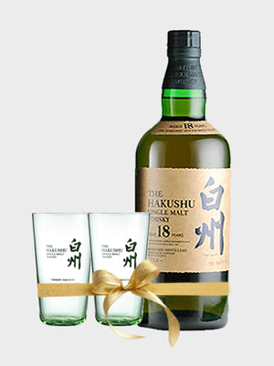 Suntory Hakushu 18 Year Old Gift Set (No Box + 2 Glasses) Whisky - CaskCartel.com