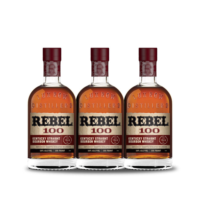 Rebel Bourbon 100 Proof Straight Bourbon Whiskey (3) Bottle Bundle