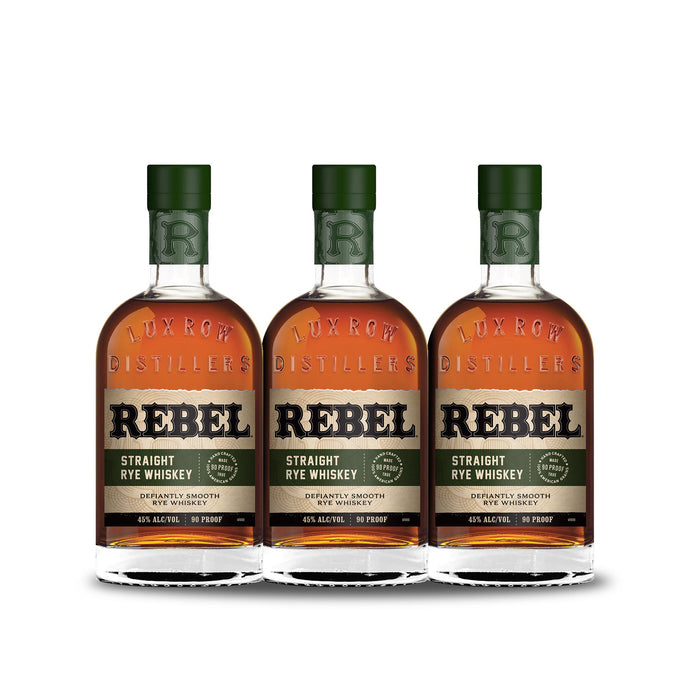 Rebel Straight Rye Whiskey (3) Bottle Bundle