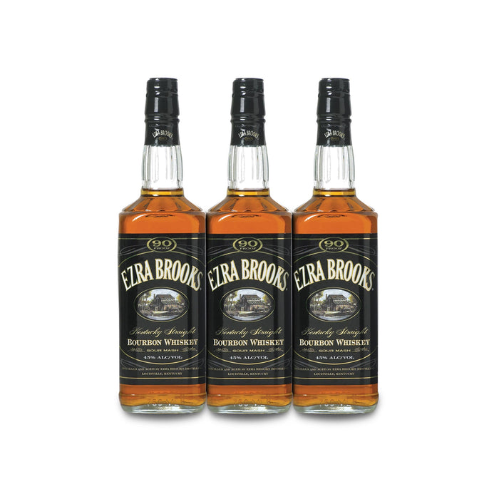 Ezra Brooks 90 Proof Kentucky Sour Mash Bourbon Whiskey (3) Bottle Bundle