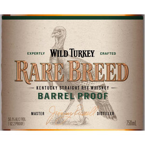 Wild Turkey Rare Breed Barrel Proof 56.1% ABV Kentucky Straight Rye Whiskey - CaskCartel.com