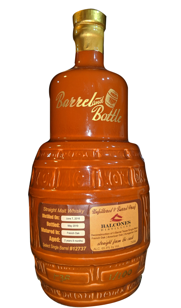 Balcones Select Single Barrel FRENCH OAK by Barrel and Bottle