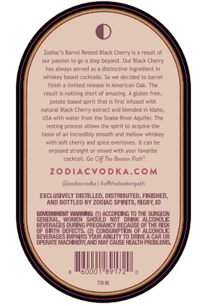 Zodiac Black Cherry Barrel Rested Vodka | Limited Release -CaskCartel.com