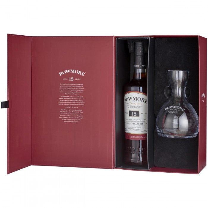 Bowmore 15 Year Old Decanter Gift Set Islay Single Malt Scotch Whisky