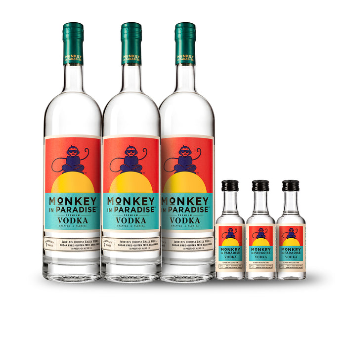 Monkey In Paradise Vodka 1-Liter (3) Pack Bundle w/Free Minis (3)