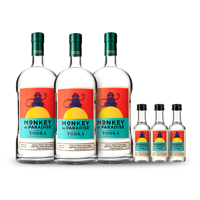 Monkey In Paradise Vodka 1.75 Liter (3) Pack Bundle w/Free Minis (3)