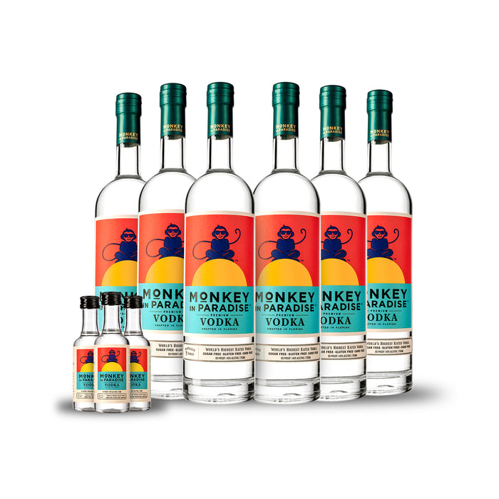 Monkey In Paradise Vodka (6) PACK CASE w/Free Minis (3)