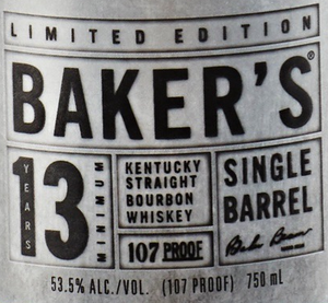 Baker's Single Barrel Bourbon 13 Year Old Limited Edition Bourbon Whiskey