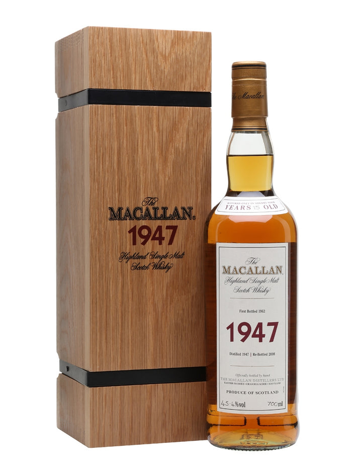 Macallan 1947 15 Year Old Fine & Rare (Bottled 1962) Speyside Single Malt Scotch Whisky