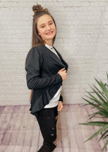 Load image into Gallery viewer, RACHEL RUFFLED OPEN FRONT BLACK BLAZER
