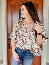 Load image into Gallery viewer, Abbie Leopard Babydoll Top