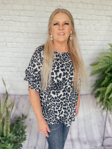 Jana Gray Leopard Print Top