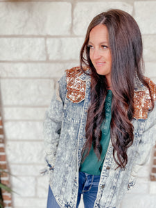 Rose Gold Denim Sparkle Jacket