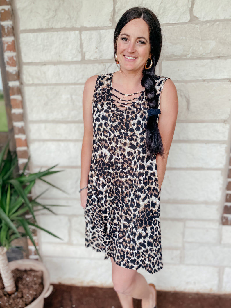 Addison Sleeveless Animal Print Dress