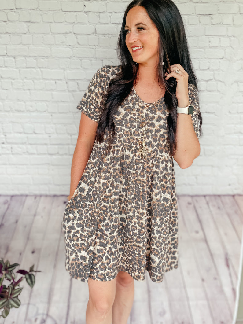 Gina Leopard Baby Doll Dress