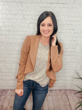 Load image into Gallery viewer, RACHEL RUFFEL OPEN FRONT MOCHA BLAZER