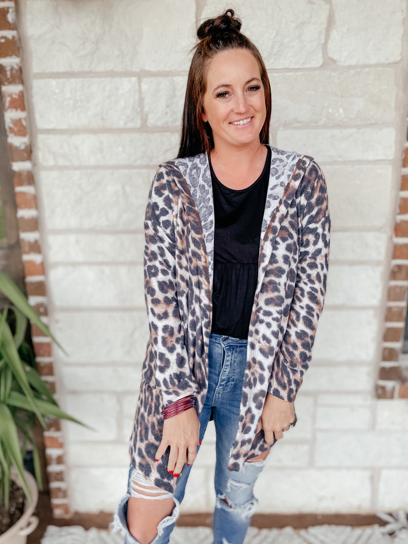 Kaitlyn Leopard Hooded Cardigan