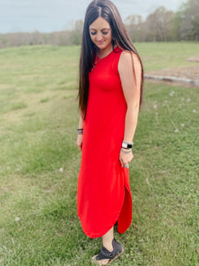 Tracy Red Maxi Dress
