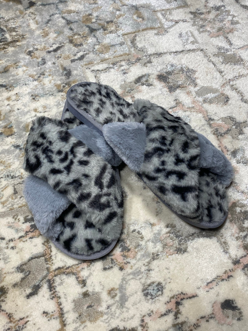Grey Crisscross Faux Fur Slippers