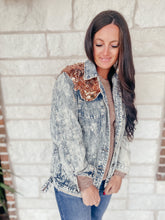 Load image into Gallery viewer, Rose Gold Denim Sparkle Jacket