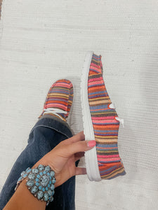 Shilah Pink Striped Sneakers