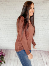 Load image into Gallery viewer, Bella Basic Brown Long Sleeve Top