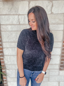Ava Black Short Sleeve Sweater Top