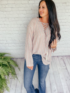 Josie Hoodie Lace Up Top