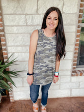 Load image into Gallery viewer, Rosemary Green Camo Tank Top
