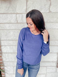 India Indigo Blue Knit Top