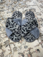 Load image into Gallery viewer, Grey Crisscross Faux Fur Slippers