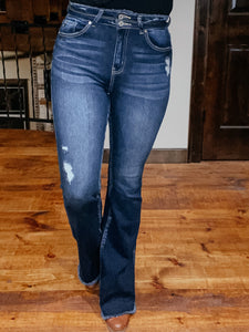 Tate Destressed Flare Jean