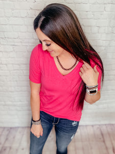 Bella Basic Pink Short Sleeve Top