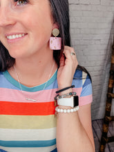 Load image into Gallery viewer, NAPLES GEOMETRIC BOHO PINK & GOLD EARRINGS