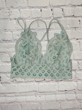 Load image into Gallery viewer, Frilly Sage Lace Bralette