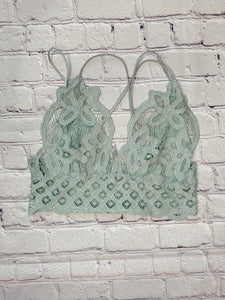 Frilly Sage Lace Bralette