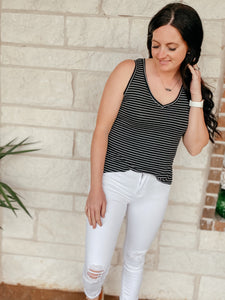 Nila Black Striped Tank Top