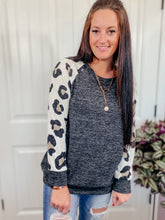 Load image into Gallery viewer, Fallon Leopard Print Charcoal Top
