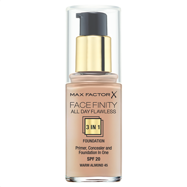 Make up με Βάση & Καλυπτικό Ματιών Max Factor Face Finity  45 Warm Almond 30ml - Miss Beauty shop